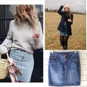 Embroidered Boho Denim Skirt 10